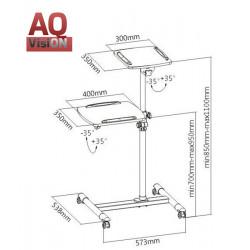 AQ BR01PC  - Profesjonalny wózek pod projektor, laptop