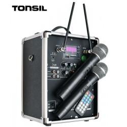 Zestaw przenośny 150W Bluetooth /FM /USB /SD + pilot, 2 mikrofony Tonsil ZP 6.5