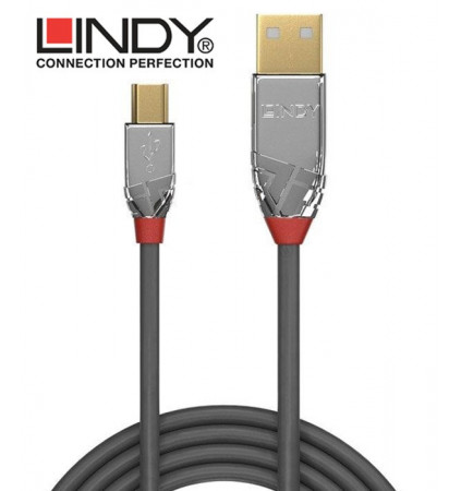 Lindy 36630 Kabel USB 2.0 A - mini-B Cromo Line - 0.5m