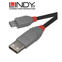 Lindy 36730 kabel USB 2.0 A – micro USB B Anthra Line - 0.2 m