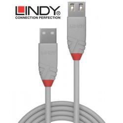 Lindy 36711 przedłużacz USB A 2.0 Anthra Line szary - 0.5 m