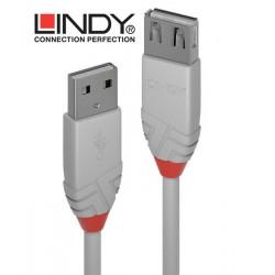 Lindy 36714 przedłużacz USB A 2.0 Anthra Line szary - 3 m