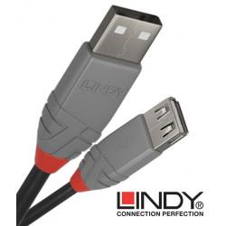 Lindy 36701 przedłużacz USB A 2.0 Anthra Line - 0.5 m