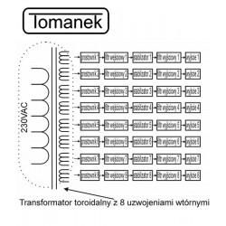 Tomanek Case-1S - Stabilizowany zasilacz 9V DC z separacją do 8 efektów gitarowych