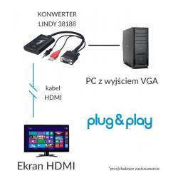 Lindy 38188 konwerter VGA + audio - HDMI
