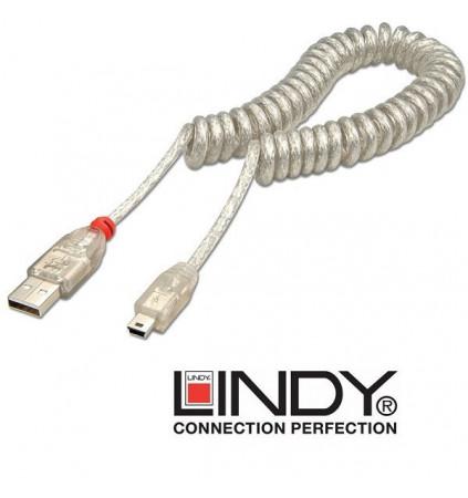 Kabel (przewód) USB A - mini B spiralny Lindy 31925