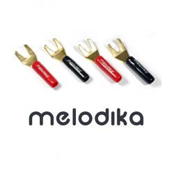 Pozłacane wtyki widełkowe Hi-Fi Melodika MDSPA 4 sztuki