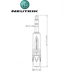 Wtyk Jack STEREO 6.3 mm męski Neutrik NP3X