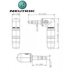 Kątowy wtyk mini Jack STEREO 3.5 mm męski Neutrik NTP3RC-B