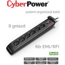 Listwa zasilająca 6 gniazd 1.8m CyberPower SB0601BA-FR