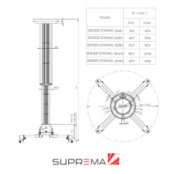 Uchwyt sufitowy do projektora Suprema SPIDER STRONG 80100