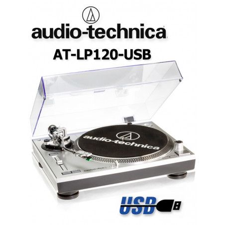 Gramofon stereofoniczny Audio-Technica AT-LP120USBHC Silver